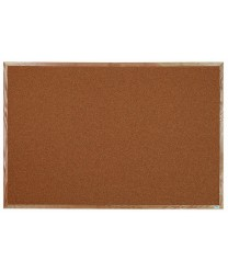 "Aarco OB4872 Natural Pebble Grain Cork Bulletin Board with Oak Frame 48"" x 72"""