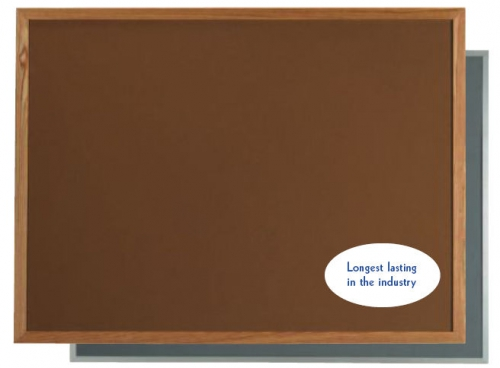 "Aarco OW2436166 VIC Cork Bulletin Board with Oak Frame, Tan 24"" x 36"""