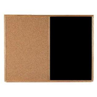 "Aarco OW2436182 VIC Cork Bulletin Board with Oak Frame, Grey 24"" x 36"""