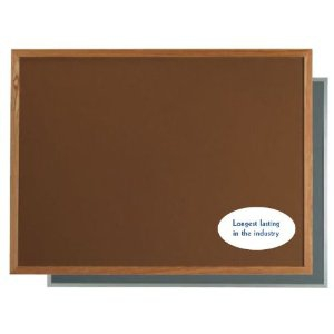 """Aarco OW2436201 VIC Cork Bulletin Board with Oak Frame, Terracotta 24"""" x 36"""""""