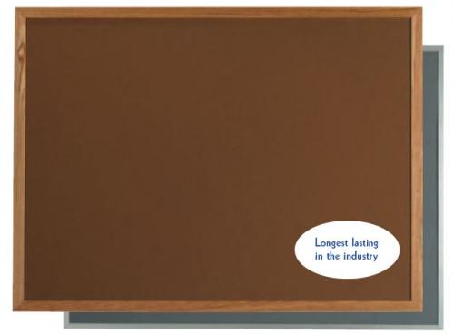 "Aarco OW2436202 VIC Cork Bulletin Board with Oak Frame, Black 24"" x 36"""