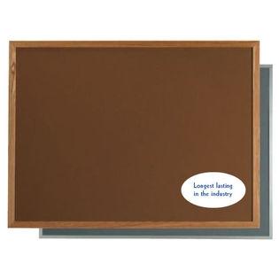 "Aarco OW2436203 VIC Cork Bulletin Board with Oak Frame, Green 24"" x 36"""