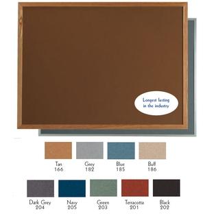 "Aarco OW48120185 VIC Cork Bulletin Board with Oak Frame, Blue 48"" x 120"""