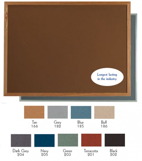 "Aarco OW48192182 VIC Cork Bulletin Board with Oak Frame, Grey 48"" x 192"""