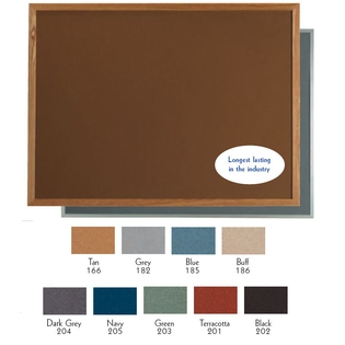 "Aarco OW48192203 VIC Cork Bulletin Board with Oak Frame, Green 48"" x 192"""