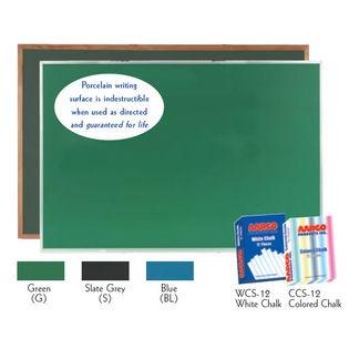 Aarco OS3660G Green Porcelain on Steel Chalkboard with Oak Frame 36