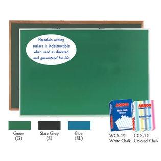 Aarco OS48120G Green Porcelain on Steel Chalkboard with Oak Frame 48
