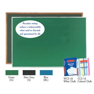 Aarco OS48192BL Blue Porcelain on Steel Chalkboard with Oak Frame 48