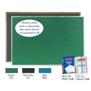Aarco OS48192S Slate Porcelain on Steel Chalkboard with Oak Frame 48