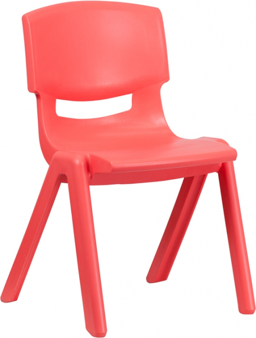 Flash Furniture Red Plastic Stackable School Chair with 15.5'' Seat Height [YU-YCX-005-RED-GG]