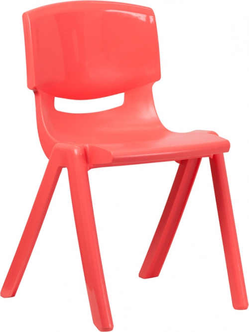 Flash Furniture Red Plastic Stackable School Chair with 18'' Seat Height [YU-YCX-007-RED-GG]