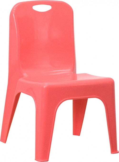 Flash Furniture Red Plastic Stackable School Chair with Carrying Handle and 11'' Seat Height [YU-YCX-011-RED-GG]