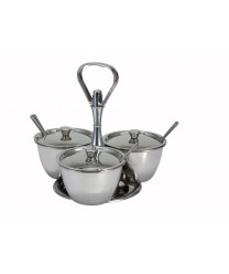 Winco RS-3 3-Compartment Stainless Steel Relish Server
