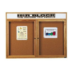 Aarco RHI4832RH Removable Letter Panel for Enclosed Red Oak Bulletin Board with Header 48