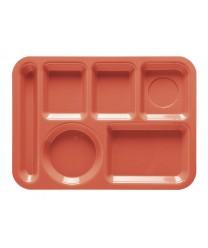 "GET Enterprises TL-152-RO Rio Orange Left Hand 6 Compartment ABS School Tray, 10""x 14""(1 Dozen)"
