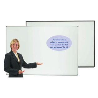 "Aarco ERP2436 Designer Series High Gloss White Markerboard with Satin Anodized Frame 24"" x 36"""