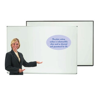"Aarco ERP2436V2 Designer Series Low Gloss White Markerboard with Satin Anodized Frame 24"" x 36"""