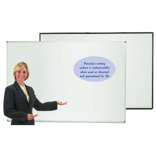 "Aarco ERP4896V2 Designer Series Low Gloss White Markerboard with Satin Anodized Frame 48"" x 96"""