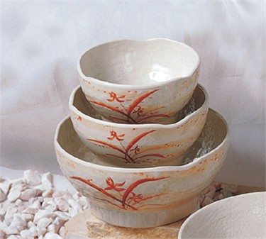 Thunder Group 3706 Gold Orchid Wave Rice Bowl 14 oz. (1 Dozen)