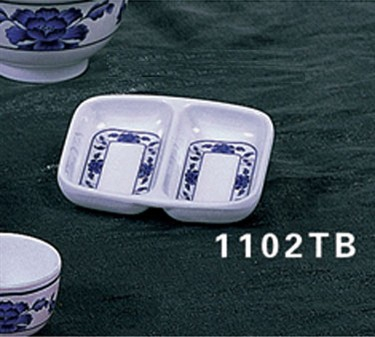 "Thunder Group 1102TB Lotus Twin Sauce Dish 2-3/4"" x 3-3/8"" (2 Dozen)"