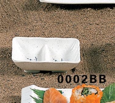 """Thunder Group 0002BB Blue Bamboo Twin Sauce Dish 3-5/8"""" x 2-3/4"""" (1 Dozen)"""