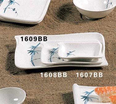 "Thunder Group 1608BB Blue Bamboo Wave Shape BBQ Plate 5-2/3"" x 4"" (1 Dozen)"