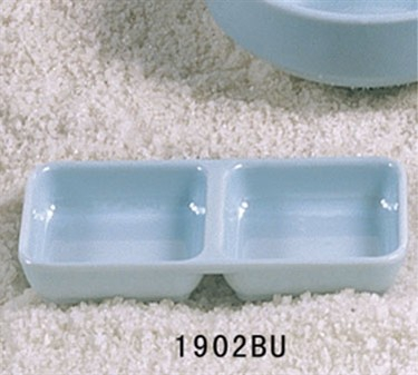 """Thunder Group 1902 Blue Jade Twin Sauce Dish 6"""" x 3"""" (1 Dozen)"""