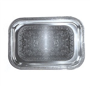 Winco CMT-1812 Chrome Plated Oblong Serving Tray, 18'' x 12-1/2''
