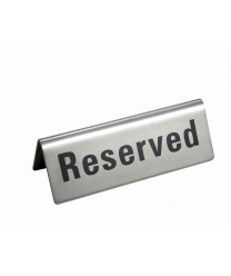 "Winco RVS-4 Stainless Steel Reserved Sign 4-3/4"" x 1-3/4"""