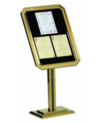 Aarco P31-B Brass Single Pedestal Ornamental Sign and Poster Stand