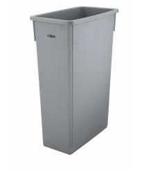 Winco PTC-23SG Gray Slender Trash Can, 23 Gallon