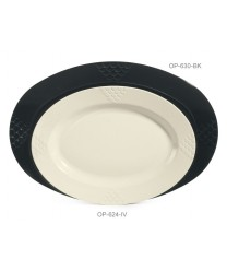 "GET Enterprises OP-630-BK Sonoma Black Oval Platter, 30""x 20-1/4""(6 Pieces)"
