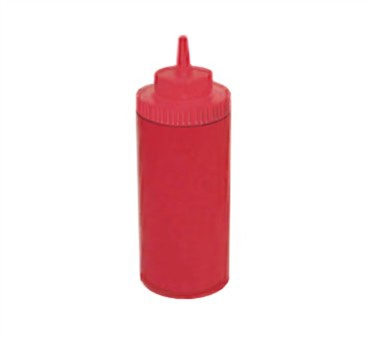 Winco PSW-16R Red Wide Mouth Plastic Squeeze Bottle 16 oz.