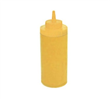 Winco PSW-16Y Yellow Wide Mouth Plastic Squeeze Bottle 16 oz.