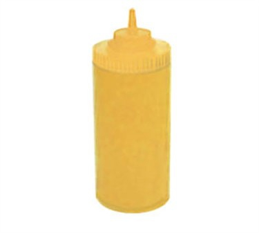 Winco PSW-32Y Yellow Wide Mouth Plastic Squeeze Bottle 32 oz.