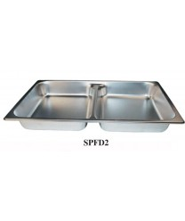 Winco SPFD2 Full Size Divided Steam Table Pan, 2-1/2'' Deep