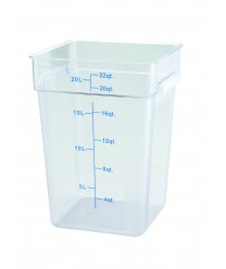 Winco PCSC-22C Square Polycarbonate Storage Container 22 Qt.