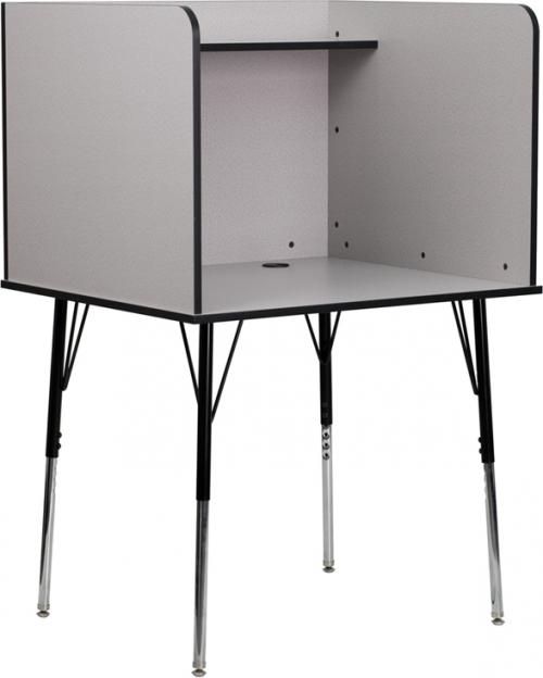 Flash Furniture  Study Carrel with Adjustable Legs and Top Shelf in Nebula Grey Finish [MT-M6221-GREY-GG]