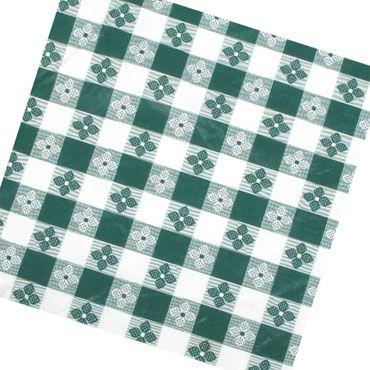 "Winco TBCS-52G Green Square Checkered Table Cloth 52"" x 52"""