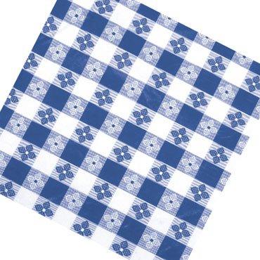 "Winco TBCO-70B Blue Checkered Oblong Table Cloth 52"" x 70"""