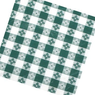 "Winco TBCO-70G Green Checkered Oblong Table Cloth 52"" x 70"""