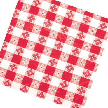 "Winco TBCO-70R Red Checkered Oblong Table Cloth 52"" x 70"""