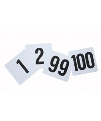 "Winco TBN-100 Plastic Table Numbers Set 1-100, 4"" x 3-3/4"""