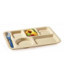 """GET Enterprises TL-153-T Tan Left Hand 6 Compartment Plastic School Tray, 10""""x 14""""(1 Dozen)"""