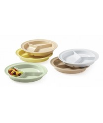 "GET Enterprises CP-530-T Tan SuperMel Three Compartment Plate, 9""(1 Dozen)"