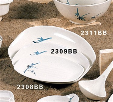 "Thunder Group 2311BB Blue Bamboo Teriyaki Tray 10-3/4"" x 7-7/8"" (1 Dozen)"