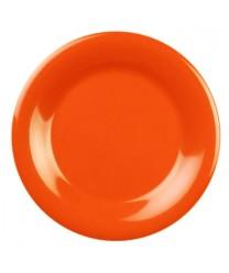 "Thunder Group CR010RD Orange Melamine Wide Rim Round Plate 10-1/2""  (1 Dozen)"