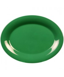"""Thunder Group CR213GR Green Melamine Oval Platter 13-1/2"""" x 10-1/2"""" (1 Dozen)"""
