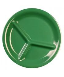 """Thunder Group CR710GR Green Melamine 3-Compartment Plate 10-1/4"""" (1 Dozen)"""