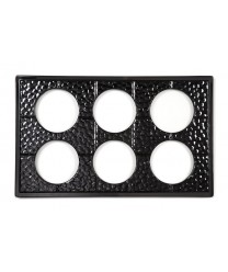 GET Enterprises ML-171-BK Black Full Size Tile with Six Cut-Outs for CR-0120 Round Crocks